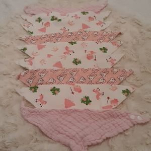 Baby girl lot of handkerchief bibs pink/white